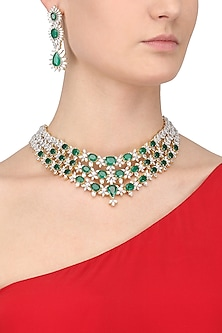 White and Gold Dual Finish Emerald and White Sapphire Necklace Set by Tanzila Rab
