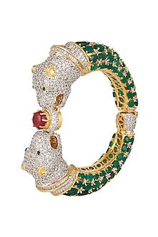 Gold Finish Emeralds Double Panther Hand Cuff by Tanzila Rab