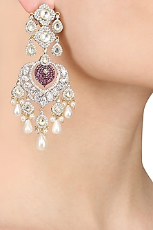 Silver Finish Kundan, White Sappire and Ruby Earrings