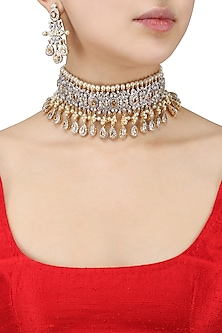 Antique Gold Finish Sapphire, Topaz and Pearl Choker Set by Tanzila Rab