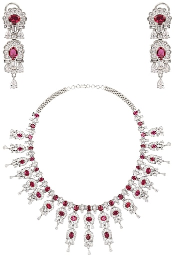 Tanzila Rab Rhodium White Necklace Set
