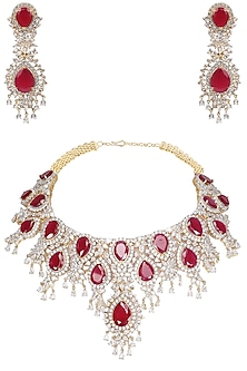 Rhodium Finish Big Ruby and White Sapphire Necklace Set by Tanzila Rab