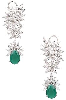 Rhodium Finish White Sapphire and Emrald Teardrop Earrings by Tanzila Rab