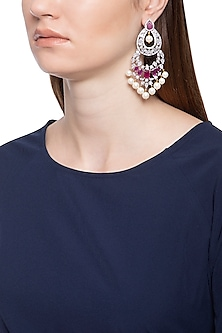 Gold plated white sapphire, ruby and shell pearl long earrings