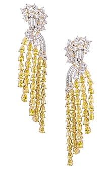 Gold plated white and yellow sapphire earrings by Tanzila Rab