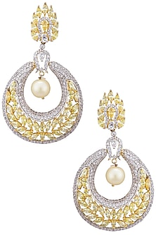 Gold plated sapphire and shell pearl earrings by Tanzila Rab