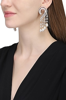 Silver plated white sapphire and shell pearl earrings
