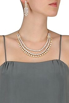 Gold Finish White Sapphire Double String Necklace Set by Tanzila Rab