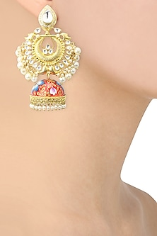 22K Gold Finish Kundan and Pearls Enamelled Earrings