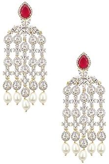 Dual Rhodium and 22K Gold Finish Dangler Earrings by Tanzila Rab