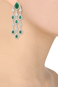 Dual Rhodium and 22K Gold Finish Emerald Studded Earrings by Tanzila Rab