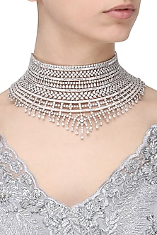 Rhodium Finish White Sapphires Studded Bridal Necklace