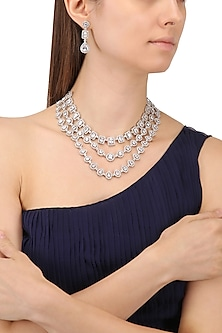 Rhodium Finish White Sapphire Three Line Necklace by Tanzila Rab