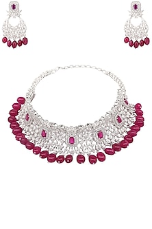 Rhodium and Gold Finish White Sapphire and Semi Precious Stone Necklace by Tanzila Rab
