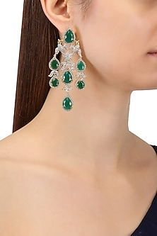 Rhodium and Gold Finish White Sapphire and Emerald Earrings