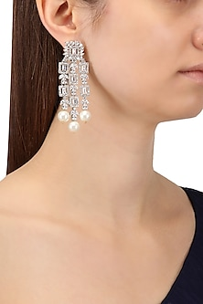 Rhodium Finish White Sapphire and Pearl Drops Earrings