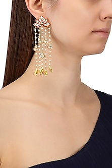 Gold Finish Meenakari and Kundan Earrings