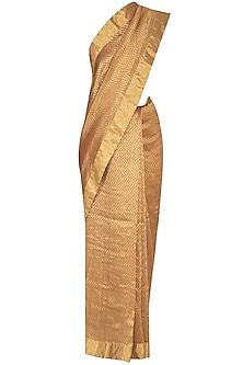 Golden Handwoven Block Printed Saree by TORANI