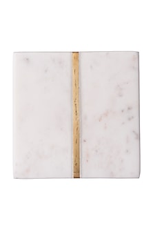 White Marble Square Coasters (Set of 4) by The Pitara Project