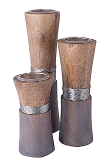 Silver Wooden Tea Light Holders (Set of 3) by The Pitara Project