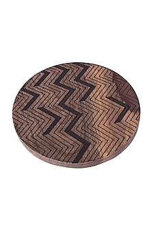 Brown Wooden Trivet With Black Zig-Zag Detailing by The Pitara Project