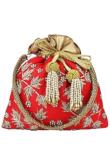 Red Hand Embroidered Potli Bag by The Pink Potli