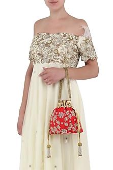 Red Hand Embroidered Potli Bag