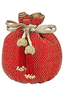 Red Beads Embroidered Potli Bag by The Pink Potli