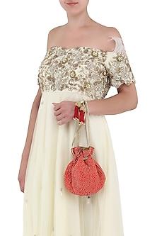 Red Beads Embroidered Potli Bag