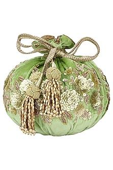 Lime Green Hand Embroidered Potli Bag by The Pink Potli