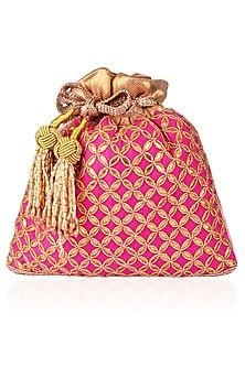 Pink Gota Patti and Beads Potli Bag by The Pink Potli