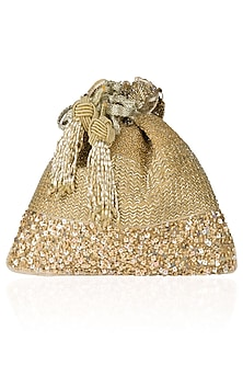 Gold Embroidered Reversible Potli Bag by The Pink Potli