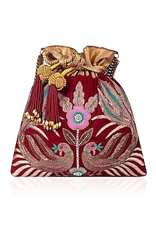 Maroon Hand Embroidered Peacock Design Velvet Potli Bag by The Pink Potli