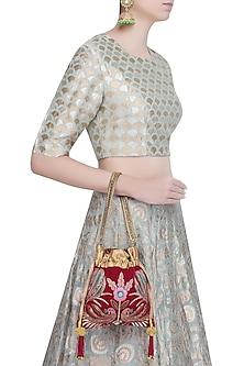 Maroon Hand Embroidered Peacock Design Velvet Potli Bag