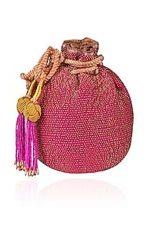 Pink Hand Embroidered Bead Brocade Potli Bag by The Pink Potli