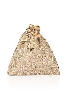 Gold Zardozi and Stone Work Potli Bag by The Pink Potli