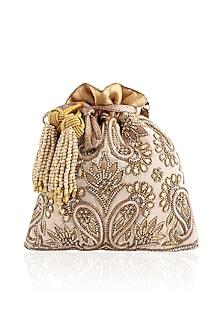 Gold Zardozi Paisley Paradise Brocade Potli Bag by The Pink Potli