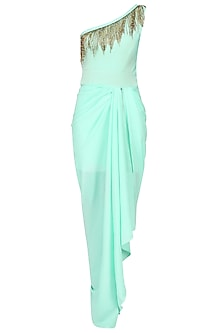 Seafoam One Shoulder Tasseled Gown