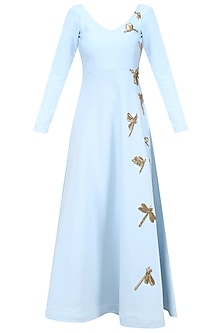 Blue Dragonfly Embroidered Anarkali