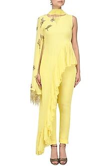 Soft Yellow Frilled Peplum Tunic and Pants by Tanya Patni