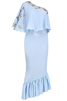 Baby Blue Embroidered Cape Style Top with Frilled Peplum Skirt by Tanya Patni