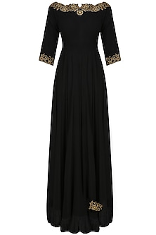 Black boatneck dabka embroidered anarkali