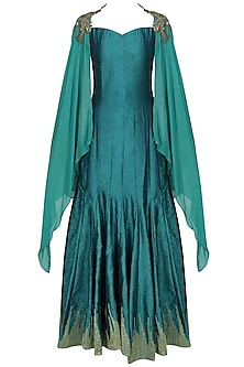 Teal skyfall zardozi embroidered cape shoulder sleeves