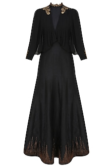 Midnight black cape draped anarkali