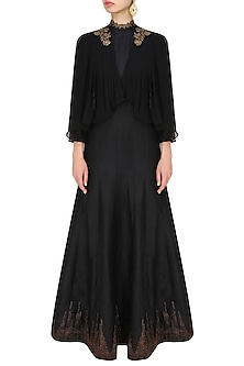 Midnight black cape draped anarkali by Tanya Patni