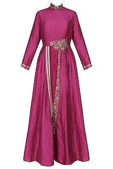 Boysenberry dori front slit kurta and black pencil pants