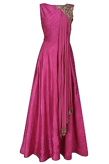 Berry pink dabka embroidered anarkali with draped dupatta