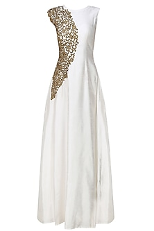 Smoke white zardozi embroidered gown
