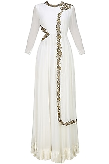 White Anarkali with draped dupatta and side cutout