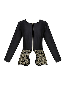Onyx black peplum jacket and berkley gold <br /> cowl draped dhoti pants